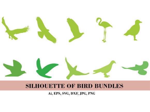 Silhouette Green Birds Bundle Graphic Illustrations By themagicboxart
