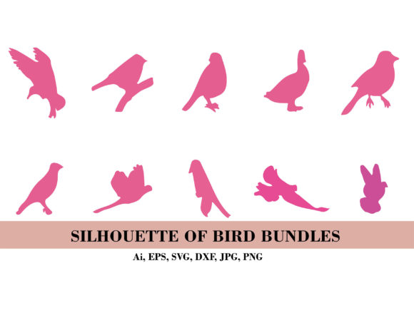 Silhouette Pink Birds Bundle Graphic Illustrations By themagicboxart