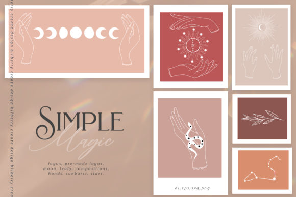 Simple Magic Art Set Graphic Illustrations By BilberryCreate