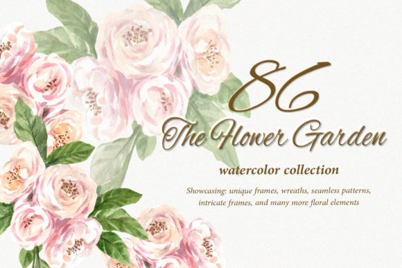 The Flower Garden Watercolor Set Graphic Illustrations By WatercolorEps