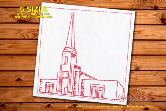 Tower in Abidjan Ivory Coast Redwork Africa Embroidery Design By Redwork101