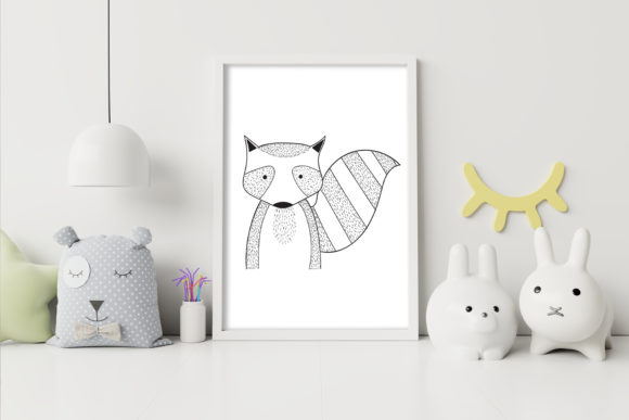 Print on Demand: Wall Art,Cute Raccoon Animal Clip Art Graphic Illustrations By Saydung89