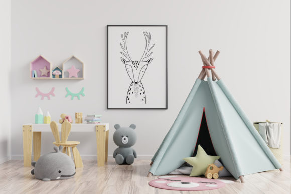 Print on Demand: Wall Art,Cute Deer Animal Clip Art Graphic Illustrations By Saydung89