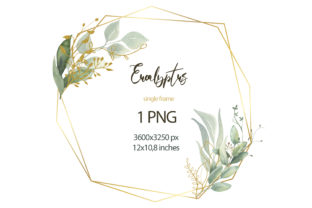 Watercolor Eucalyptus Frame Clipart. Graphic Illustrations By olesiafrolowa