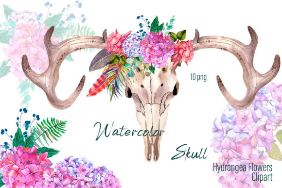 Watercolor Clipart Boho Skull, Flowers Graphic