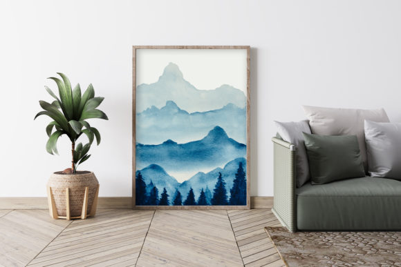 Print on Demand: Watercolor Clipart,Mountain Scenery Graphic Crafts By Saydung89