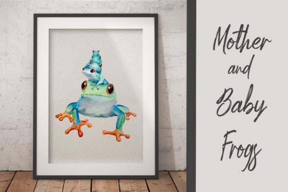 Watercolour Mother and Baby Frogs - Clip Graphic Illustrations By tatibordiu