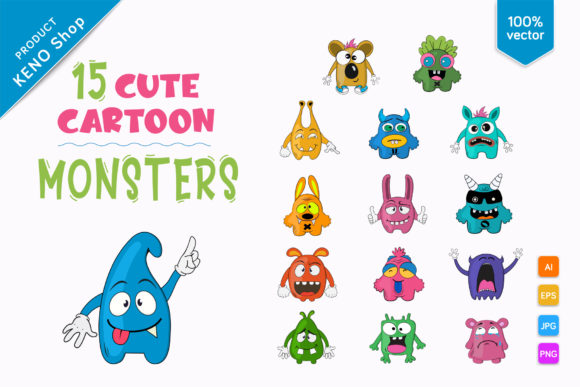 15 Cute Cartoon Monsters Graphic Illustrations By andreykeno2020