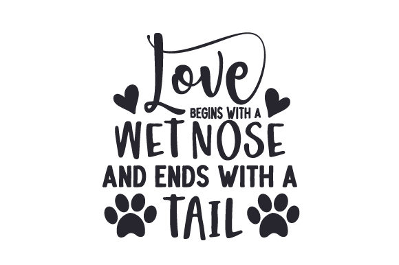 Love Begins with a Wet Nose and Ends with a Tail Dogs Plotterdatei von Creative Fabrica Crafts