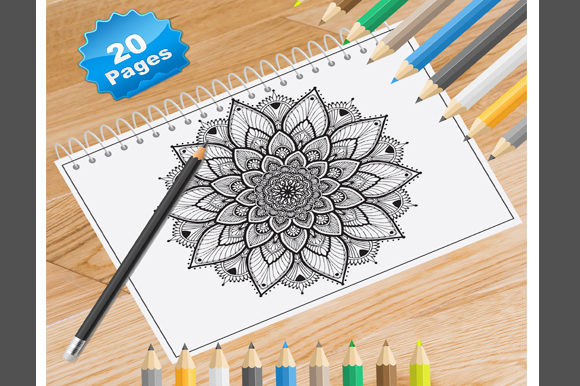 Print on Demand: 20 Flower Mandala Coloring Pages Graphic Coloring Pages & Books Adults By Coloring World