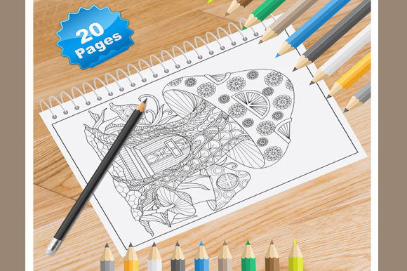 Print on Demand: 20 Mushroom Coloring Pages Graphic Coloring Pages & Books By Coloring World