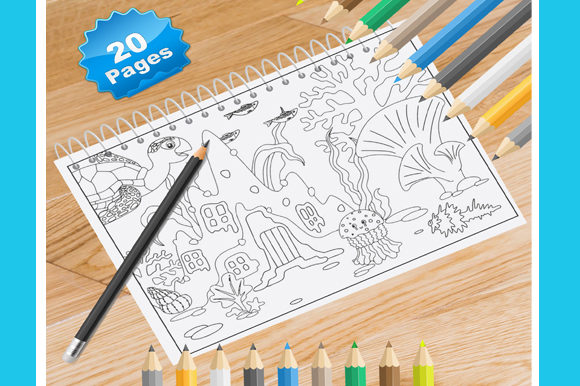 Print on Demand: 20 Ocean Coloring Pages Graphic Coloring Pages & Books Adults By Coloring World