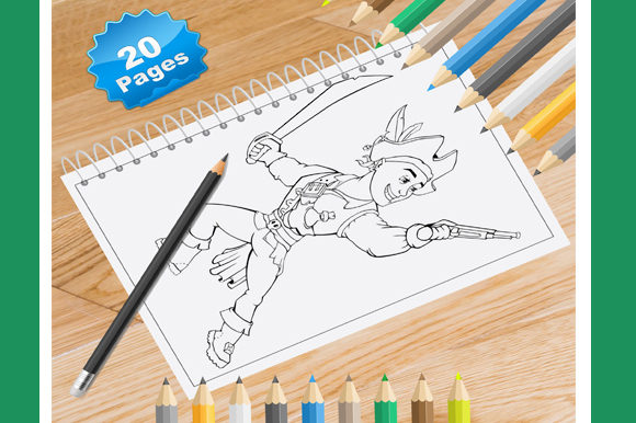 Print on Demand: 20 Pirate Coloring Pages for Kids Graphic Coloring Pages & Books Kids By Coloring World