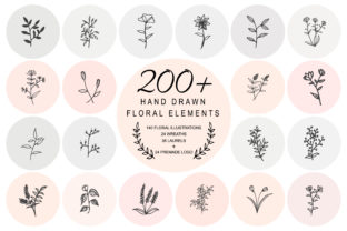 Print on Demand: 200 Hand Drawn Floral Elements Bundle Graphic Illustrations By Rimbu Creative