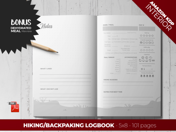 Print on Demand: Backpaking / Hiking Logbook - KDP Graphic KDP Interiors By Printable Pixel Studio