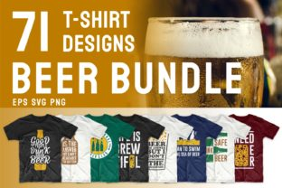 Print on Demand: Beer Slogan T-shirt Designs Bundle Graphic Print Templates By Universtock