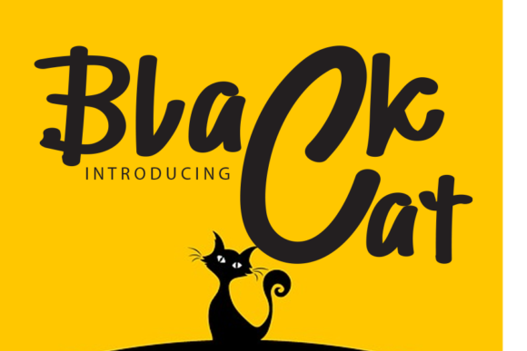 Print on Demand: Black Cat Script & Handwritten Font By gunawanletter