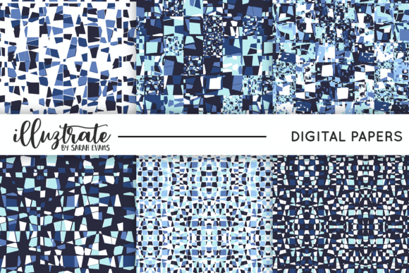Print on Demand: Blue Seamless Vector Patterns Graphic Patterns By illuztrate