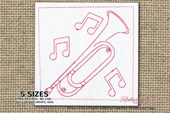 Bugle Trumpet Bluework Music Embroidery Design By Redwork101