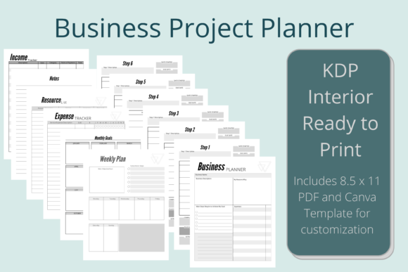 Print on Demand: Business Project Planner KDP Interior Graphic KDP Interiors By Hustle Smart Shop