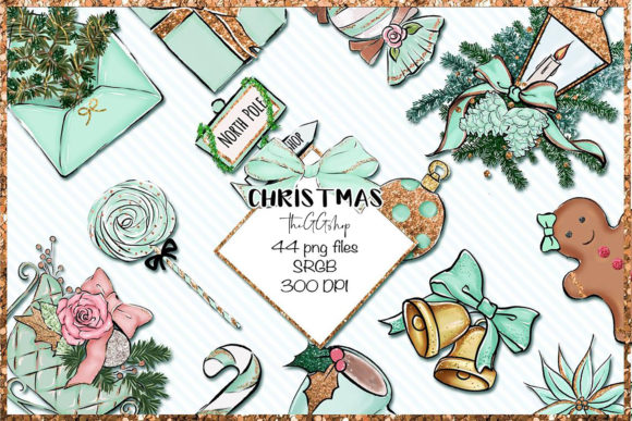 Print on Demand: Christmas Clipart Bundle Grafik Illustrations von TheGGShop