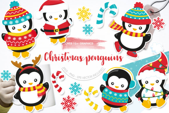 Print on Demand: Christmas Penguin Graphic Graphic Templates By Prettygrafik