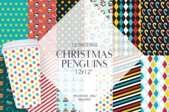 Print on Demand: Christmas Penguin Gráfico Moldes Por Prettygrafik