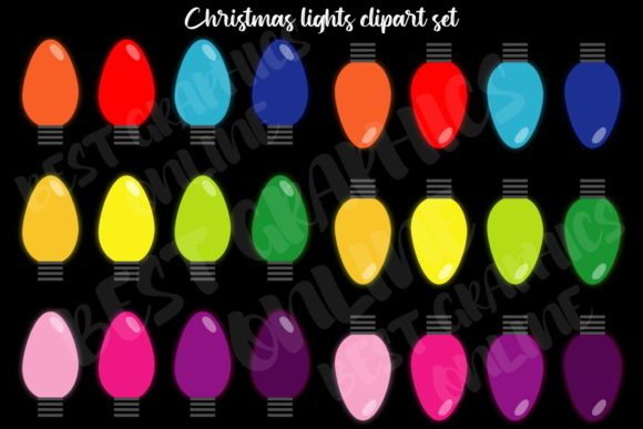 Christmas Tree Lights Image Clipart Set Graphic Illustrations By bestgraphicsonline