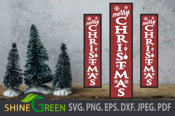 Print on Demand: Christmas Vertical Porch Sign Snowflakes Graphic Crafts By ShineGreenArt