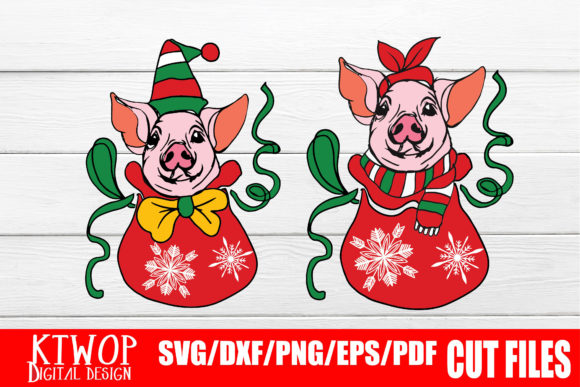 Couple Of Cute Pig Chrismas Santa Bag Graphic By Ktwop Creative Fabrica