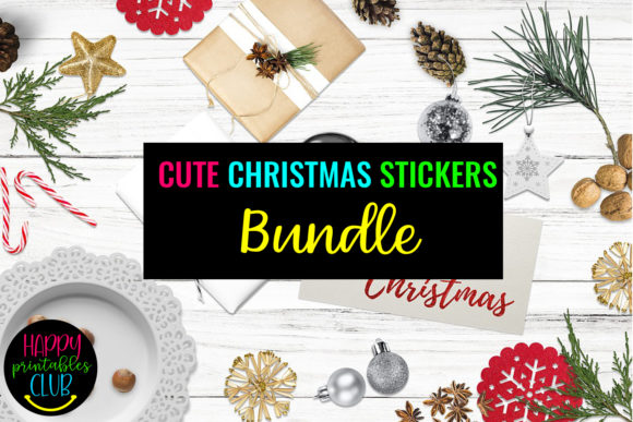 Print on Demand: Cute Christmas Stickers Bundle-Christmas Graphic Illustrations By Happy Printables Club