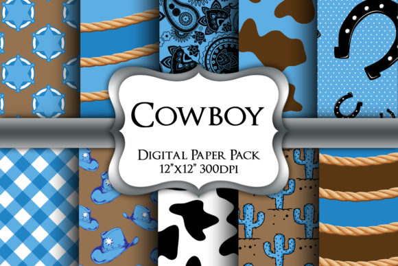 Print on Demand: Cute Cowboy Digital Paper Pack Graphic Backgrounds By Party Pixelz