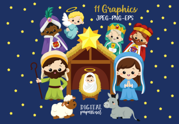 Print on Demand: Cute Nativity Graphic Illustrations By DigitalPapers