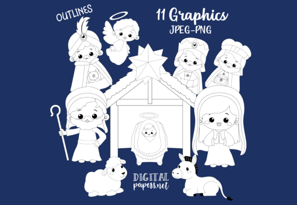Print on Demand: Cute Nativity Outlines Graphic Illustrations By DigitalPapers