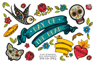 Print on Demand: Dia De Los Muertos Clipart Collection Graphic Objects By KundolaArt
