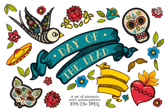 Dia De Los Muertos Clipart Collection Graphic Objects By Klepsidra_day