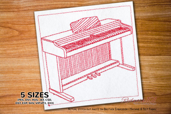 Digital Piano Redwork Music Embroidery Design By Redwork101