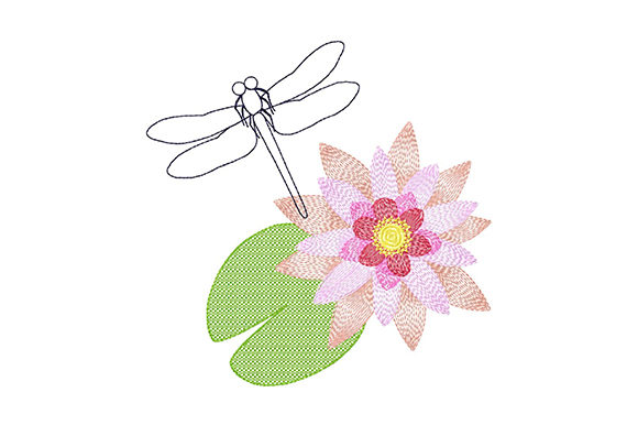 Print on Demand: Dragonfly and Water Lily Single Flowers & Plants Embroidery Design By EmbArt
