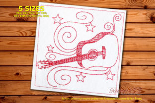 Dreadnought Acoustic Guitar Redwork Music Embroidery Design By Redwork101
