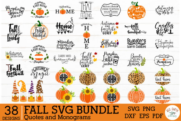 Fall Autumn Quotes and Monogram Frames Graphic Crafts By redearth and gumtrees