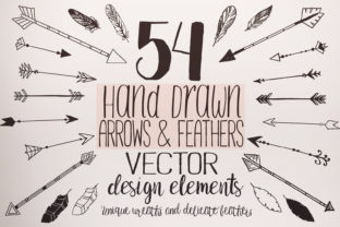 Feathers and Arrows Clipart Set Graphic Objects By LunaDesign