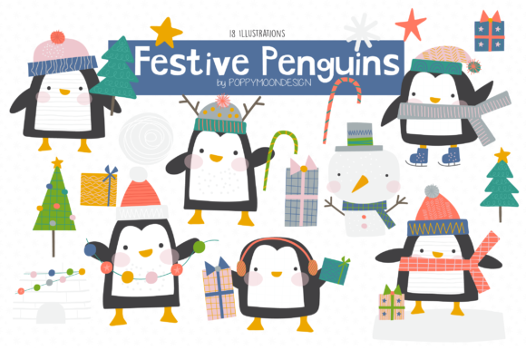 Print on Demand: Festive Penguins Clipart Set Graphic Illustrations By poppymoondesign