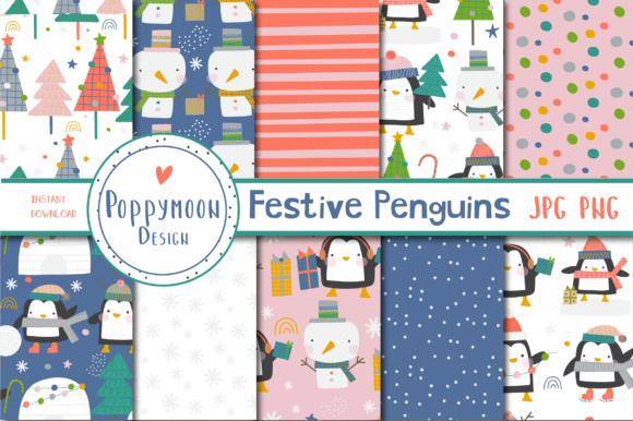 Print on Demand: Festive Penguins Paper Set Graphic Patterns By poppymoondesign