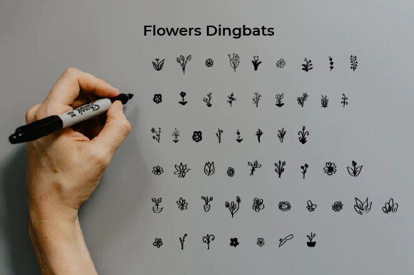 Print on Demand: Flowers Dingbats Font By Yafont