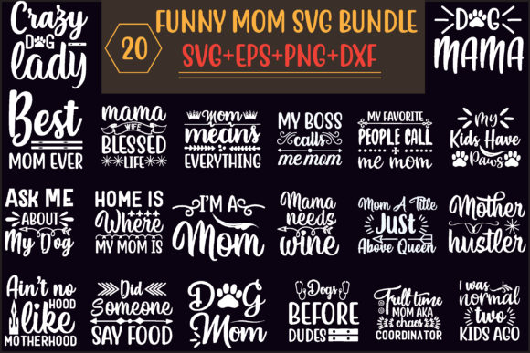 Funny Mom Svg Bundle Graphic Print Templates By creative store.net