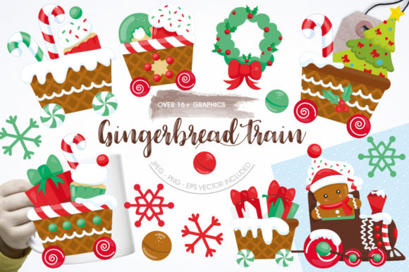Print on Demand: Gingerbread Train Graphic Illustrations By Prettygrafik