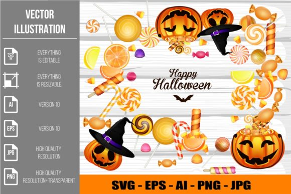 Halloween Candies and Pumpkin Clipart Graphic Illustrations By artnovi