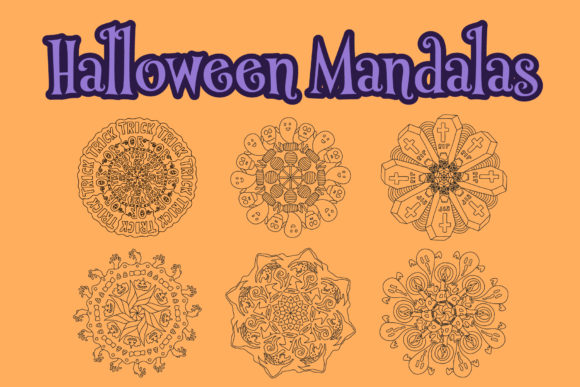 Print on Demand: Halloween Mandala Outline Patterns Graphic Coloring Pages & Books Kids By becrispk