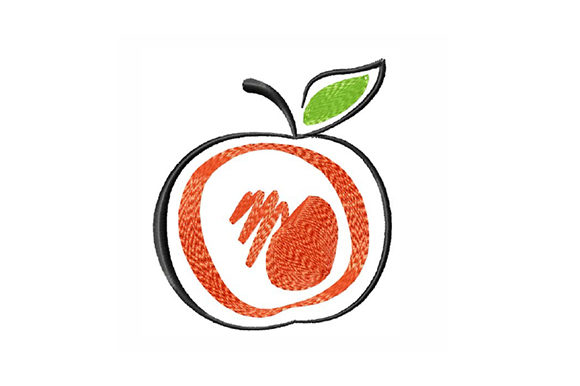 Print on Demand: Hand Drawn Apple Food & Dining Embroidery Design By EmbArt