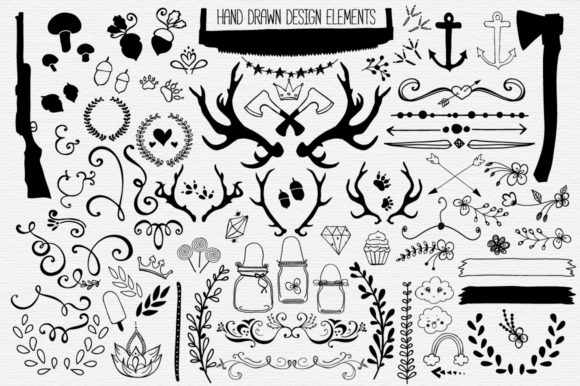 Hand Drawn Vector Elements Pack Graphic Objects By LunaDesign